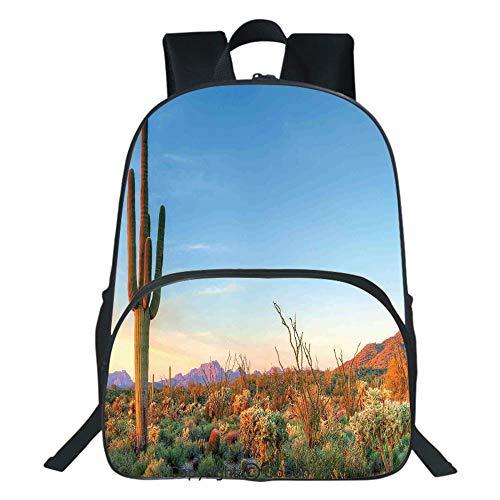 Oobon Kids Toddler School Waterproof 3D Cartoon Backpack, Sun Goes Down in Desert Prickly pear Cactus Southwest Texas National Park, Fits 14 Inch Laptop