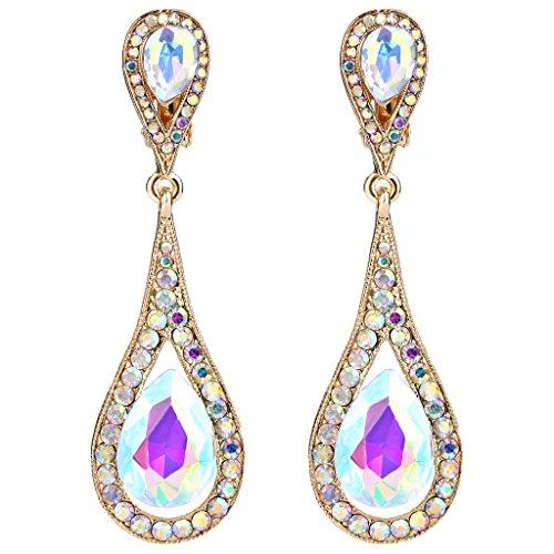 EVER FAITH Women's Austrian Crystal Dual Tear Drop Clip-on Dangle Earrings Iridescent Clear AB Gold-Tone ()