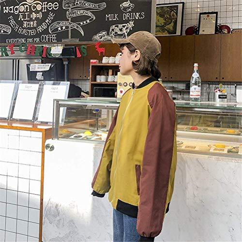 Manica Relaxed Ragazze Colori Giacca Cappotto Autunno Zip Lunga Grazioso College Misti Giacche Stlie Bomber Pilot Fashion Donna Casual Gelb Xv8nq47