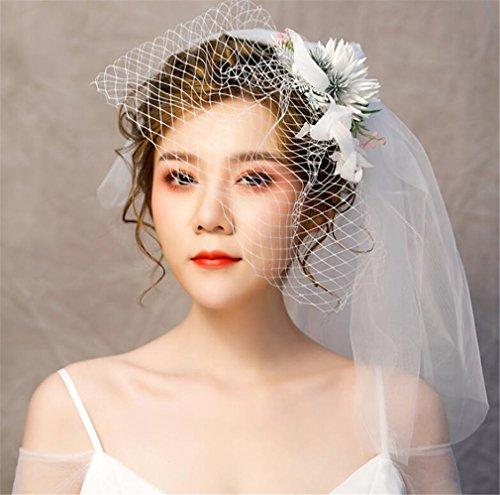 Court Tiaras - ELEGENCE-Z Flower Sweet Retro Court Fascinator Mesh Yarn Veil Bride Tiara Hairpin Hat (White)