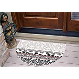 "3D Semicircle Floor Stickers Personalized Floor Wall Sticker Decals,Floral Safari Design Border Banner Pattern Ribbon,Kitchen Bathroom Tile Sticker Living Room Bedroom Kids Room Decor Art Mural D39.4"""