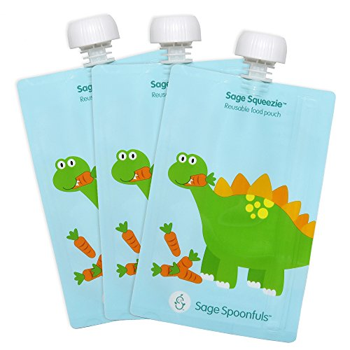 Sage Spoonfuls 3 Piece Sage Squeezie Reusable Food Pouch