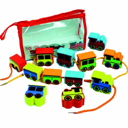 [Meadow Kids Build A Train Wooden Threading Beads] (Chunky Wooden Beads)