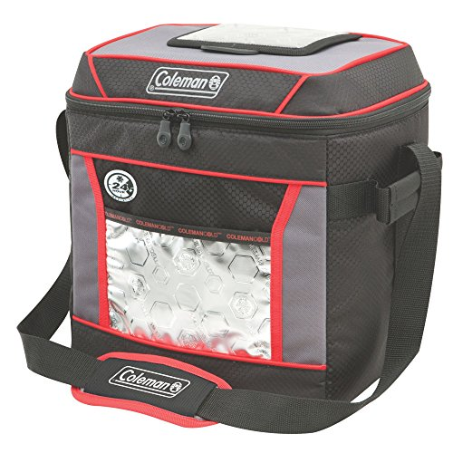 - Coleman 30-Can Insulated Soft Cooler with 24-Hour Ice Retention, Red/Black