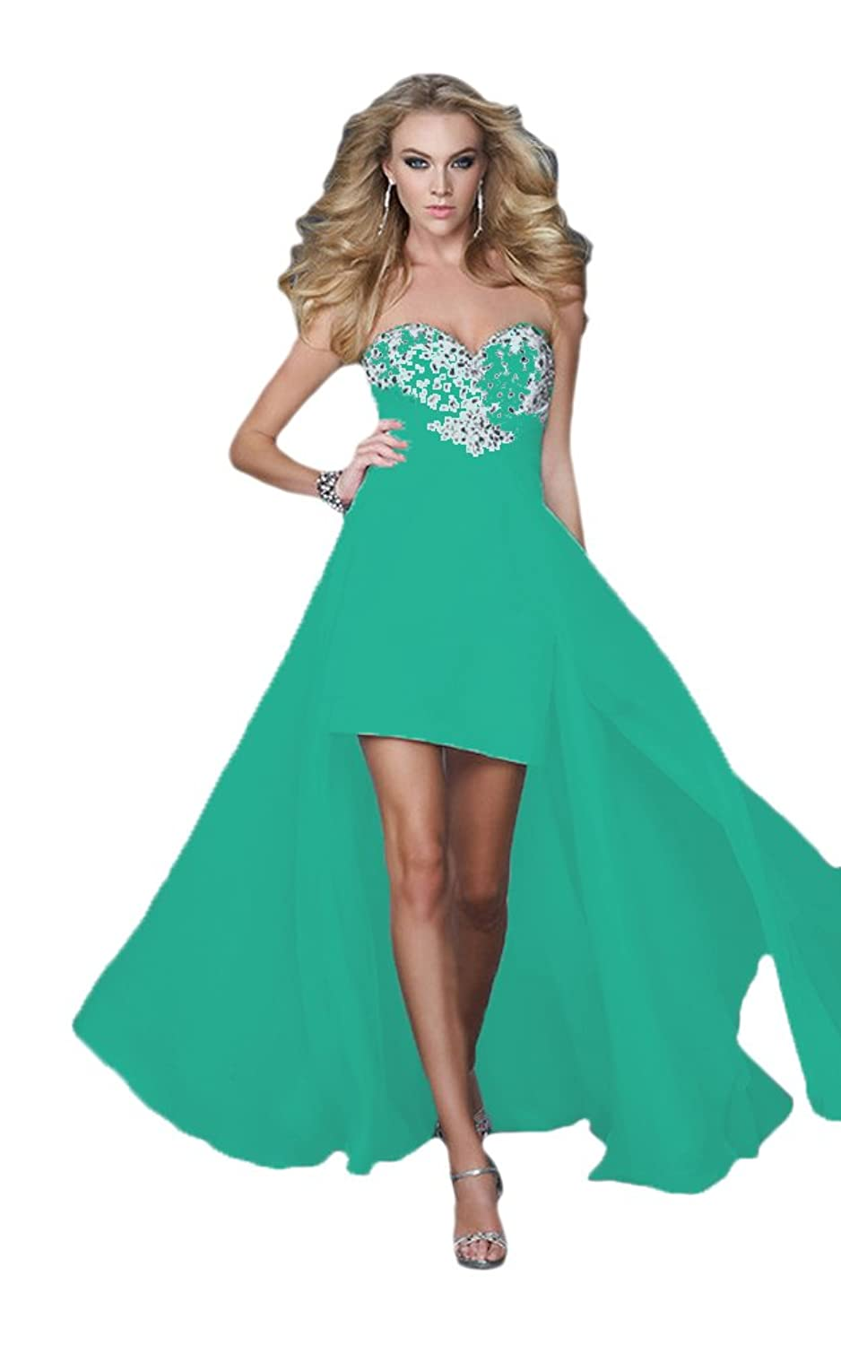 Vimans? Girl's High Low Green Sweetheart Chiffon Cocktail Party Evening Gown