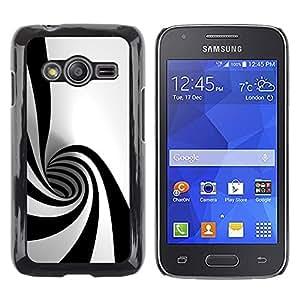 QCASE / Samsung Galaxy Ace 4 G313 SM-G313F / negro blanco forma hipnótica arte psicodélico túnel / Delgado Negro Plástico caso cubierta Shell Armor Funda Case Cover