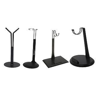 MagiDeal 4 Pezzi Azione Figure Espitore Regolabili Stand Bambole Accessori Metallo Plastica Nero