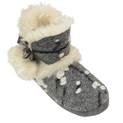 Mujer Punto DUNLOP Mullido Piel Suave Cálido Cómodo Nórdico Yeti Botas Pantuflas Gris Julia