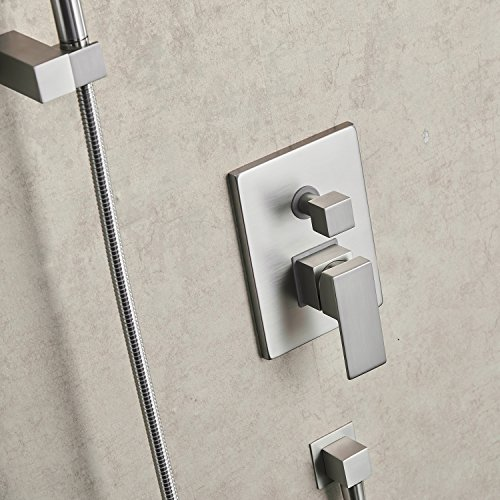 Aquafaucet Brushed Nickel Bathroom Luxury Rain Mixer Shower Combo Set Wall Mounted Rainfall Shower Head System (Contain Shower faucet valve body and trim) by Aquafaucet (Image #6)