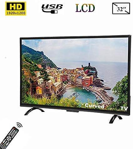 Tosuny Televisor de 32 Pulgadas, televisor Curvo Full HD de 32 Pulgadas con Pantalla panorámica Smart TV 1920x1200 con HDR, USB, HDMI, RF, Compatible con Salida de Video 4K y Control de