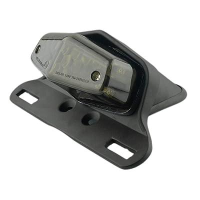 Motorcycle 19 LED Rear Stop Taillight Rear Tail Brake Light License Plate Holder Custom (Black-Smoke): Automotive