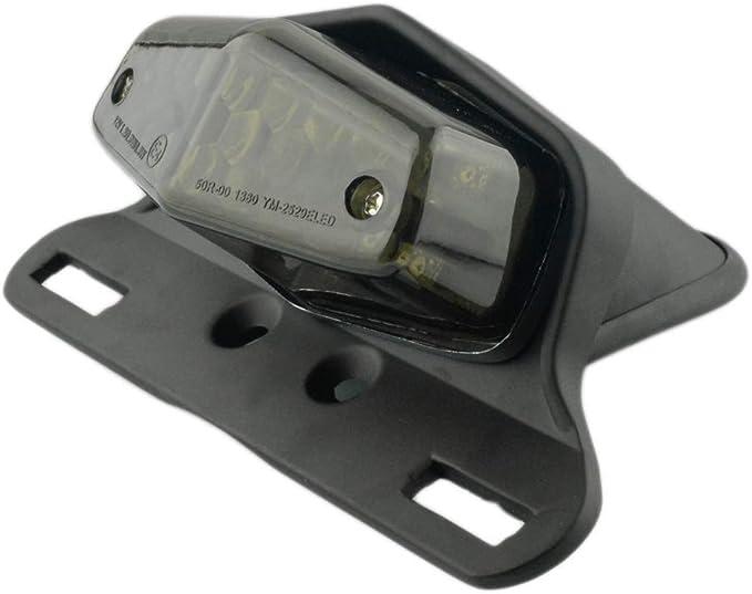 Motorcycle 19 LED Rear Stop Taillight Rear Tail Brake Light License Plate Holder Custom Black-Smoke