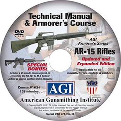 American Gunsmithing Institute Armorer's Course Video on DVD for AR-15 Rifles - Technical Instructions for Disassembly, Cleaning, Reassembly and More from American Gunsmithing Institute