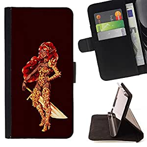 Momo Phone Case / Flip Funda de Cuero Case Cover - La princesa guerrera roja de oro Espada pelo Bling - LG G2 D800