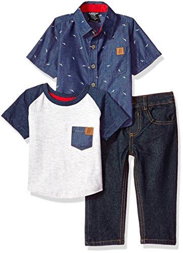 American Hawk Baby Boys 3 Piece Long Sleeve Sport, T-Shirt, and Jean Set, Multi Plaid, ()