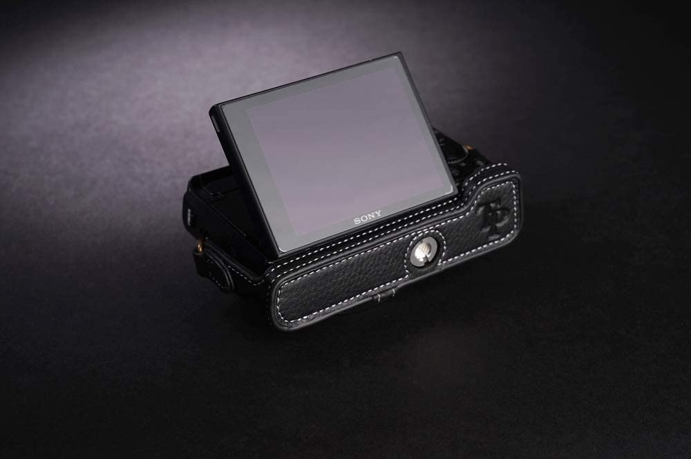 Handmade Genuine Real Leather Half Camera Case Bag Cover for Sony RX100 VI Mark VI Black color