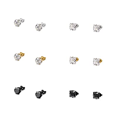 8 Pairs Stainless Steel Black//White Stone Round Cut Stud Earring//4-8MM Set