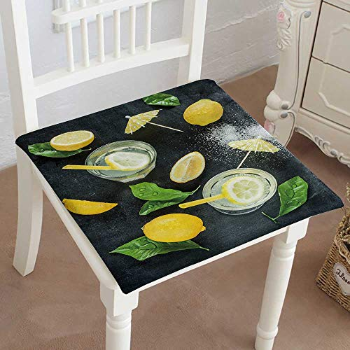 Mikihome Memory Foam Chair Pads Lemonade with Lemons and Wet Leaves on Black Chalkboard Background Cushion Perfect Indoor/Outdoor 20