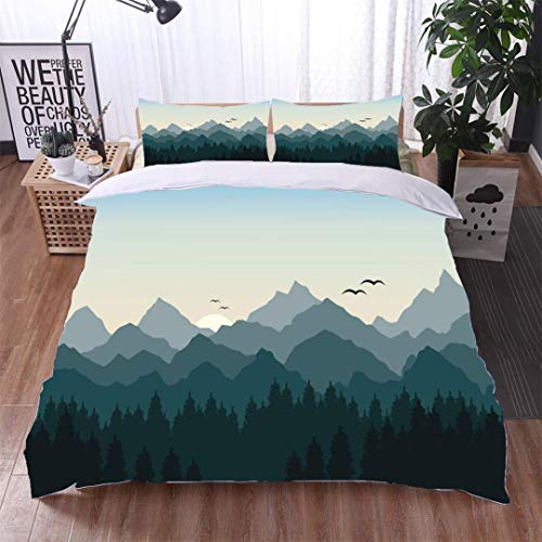 VROSELV-HOME Bedding Bedspread,Vector Illustration of Sunrise in The Mountains,Soft,Breathable,Hypoallergenic,Kids Bedding - Double Brushed Microfiber