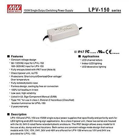 c/ód MeanWell Transformateur AC//DC Meanwell LPH-18-12 18W DC 12V Imperm/éable /à leau IP67 Bloc dalimentation transformateur Switching pour Produits LED 1574 KingLed