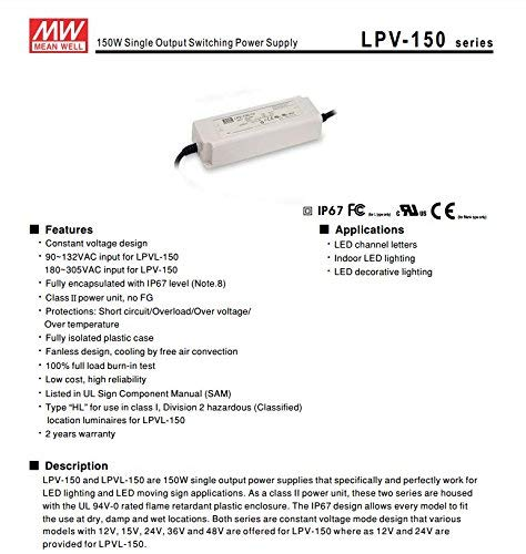 Code 1504 KingLed Meanwell AC//DC Mean Well Original Supply Power LPV-100-24 100W DC 24V Waterproof IP67 Switching Power Supply for LED Products