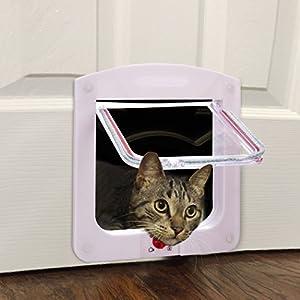 Homdox Plastic 4 Way Locking Lockable Pet Cat Door Small Cat Flap White