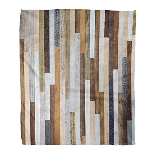 (Emvency Throw Blanket Warm Cozy Print Flannel Pallet Wood Colorful Planks Rustic Abstract Aged Comfortable Soft for Bed Sofa and Couch 60x80 Inches)