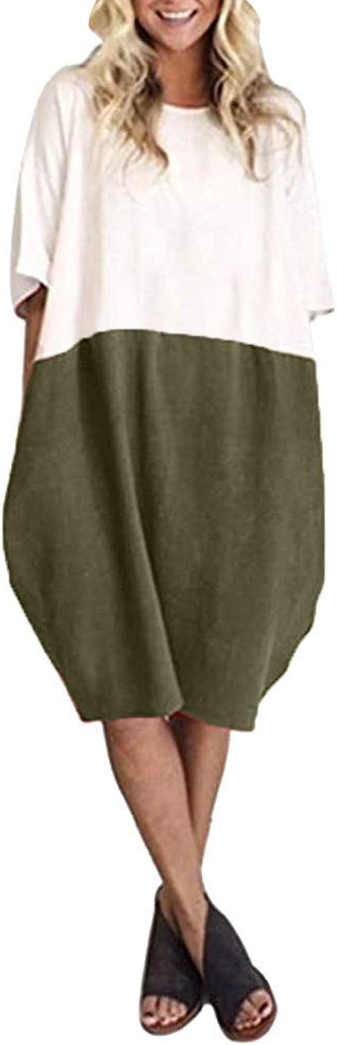 S-5XL Damen Kurzarm O Neck Kleid Hemdkleid Baumwolle Linen Freizeit Lose Rock