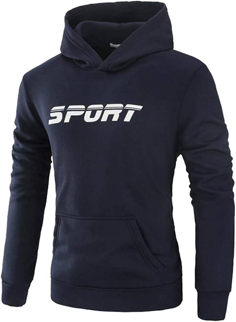 WSPLYSPJY Mens Long Sleeve Pullover Warm Fleece Cotton Sports Hoodie Sweatshirt