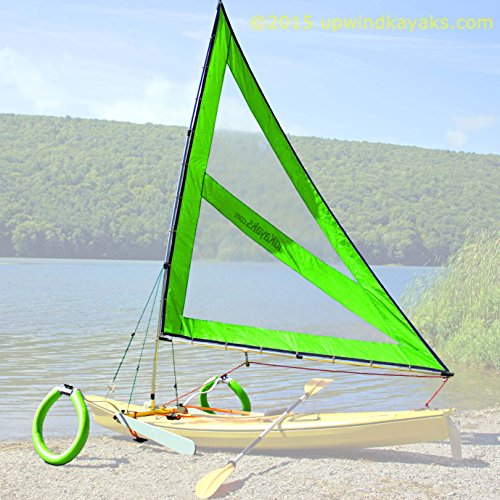 Serenity Upwind Kayak Sail and Canoe Sail Kit (Green). Complete with Telescoping Mast, Boom, Outriggers, Lee Boards, All Rigging Included! Compact, Portable, Easy to Set up - Makes a great gift ! by Sailskating