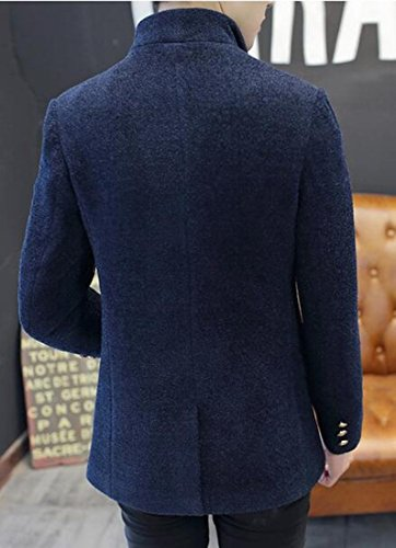 UK Long Sleeve Mens Blend Blue Button Lapel Jacket today Three Wool qgOnx11p