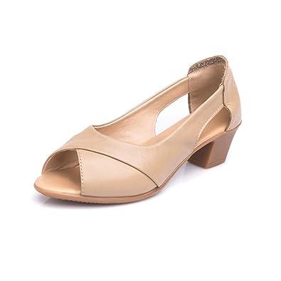 da689c9f4ee Genuine Leather Women s Mid Heel Sandals Summer Peep Toe Women Sandals  Comfort Female Cover Heel Woman