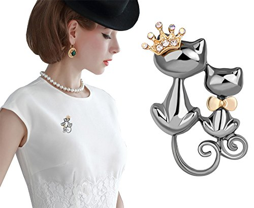 Kitten Pin Brooch - Pink Universe Crown Cat Brooch Pin Double Kittens Cat Brooches Accessories for Women (Grey)
