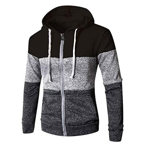 Nihewoo Men's Full-Zip Hooded Fleece Pullover Oversized Hoodies Jumper Junior Coat Outwear Long Sleeve Blouse Tops Black (Clothing Aeropostale)