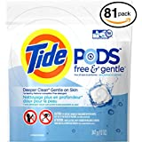 (PACK OF 81 PODS) Tide FREE & GENTLE Laundry Detergent PODS. High Efficiency & Non-High Efficiency. Detergent + Stain Remove + Brightener ALL IN ONE! All Temperatures. (81 Pods in Each Package)