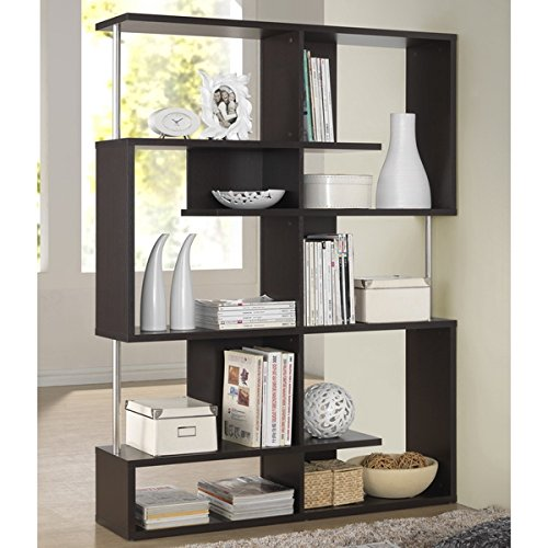 Media Bookshelves/ Storage Shelf TV Stands Kaleb Dark Brown/ Espresso Modern Storage Shelf - Assembly Required FP-5T-Tier Display (3A). 63.75'' H x 47 1/2'' W x 11 1/2'' L by Baxton S.