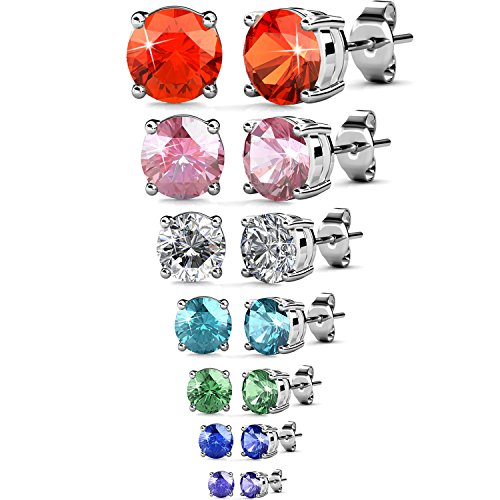 VEAMOR Womens Swarovski Elements Crystal Stud Earrings Set of 7 Pairs 18K White Gold Plated Earrings Jewelry Gift Stud Earrings Jewelry Set