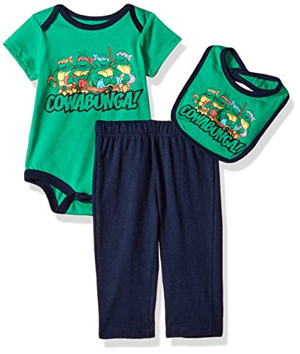 CAN Nickelodeon Baby -Boys Newborn Ninja Turtle 3 Piece Creeper Bib Set, Green, 3-6 Months]()