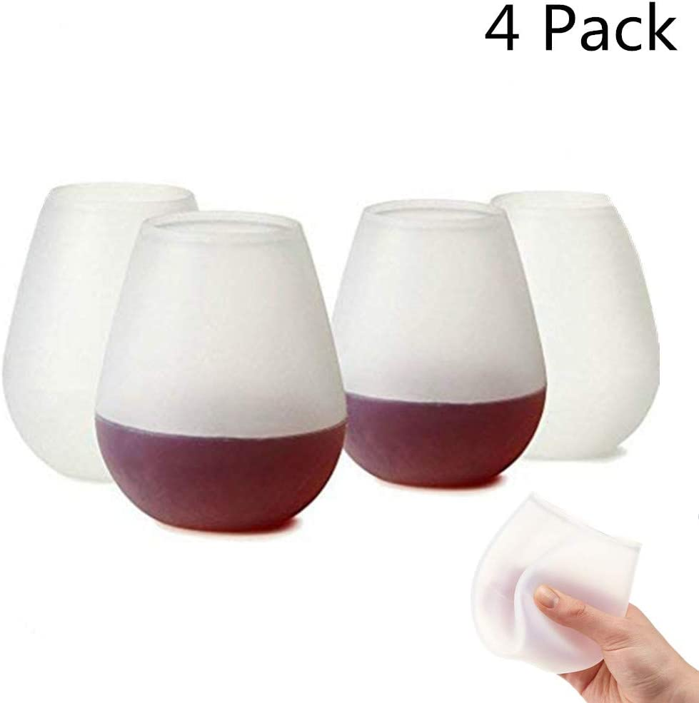 Set of 4 12oz Silicone Wine Glasses W// 2 Reusable Wine Bag Unbreakable Wine Glasses Rubber Wine glasses