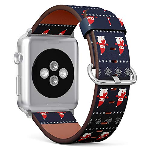 Snowman with Snowflakes Pattern on Blue Background - Patterned Leather Wristband Strap Compatible with Apple Watch Series 4/3/2/1 42mm/44mm ()
