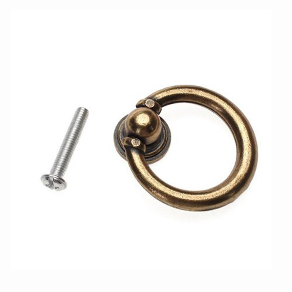 10x Furniture Hardware Drawer Drop Ring Pull Knob Bronze Tone / Antique Traditional Appearance, Solid Bronze Tone Ring Pull Colormax