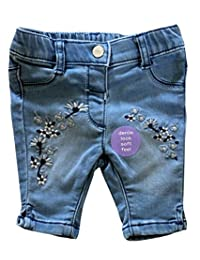 Ex High Street Embroidered Denim Look Soft Feel Baby Toddler Jeans in Blue