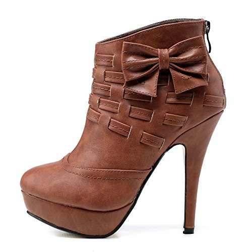 Bow Ankle Boot (Getmorebeauty Women's Brown Noble Bows Platform Stiletto High Heel Ankle Boots Shoes 7 B(M) US)
