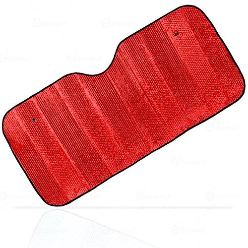 Aluminum Shade - Zone Tech Shiny Red Aluminum Foldable Sun Shade - Premium Quality Metallic Reflective Reversible Car Sun Shade