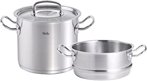 Fissler FISS-AMZ101BOM original-profi collection , Stainless Stock Pot & Steamer Set, 10-Inch, Stainless Steel Cookware, Compatible Stovetops: Induction, Gas, Electric, Dishwasher Safe