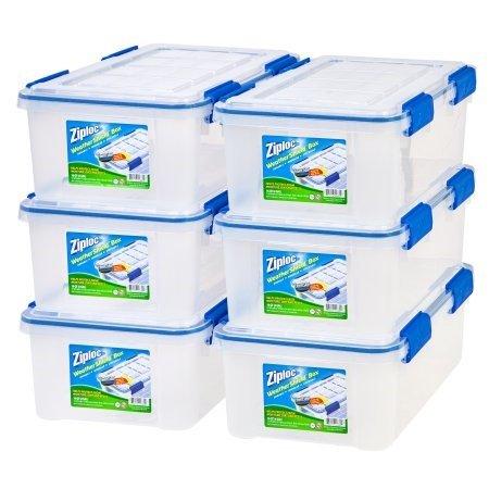 IRIS USA, Inc. Ziploc 16 Qt./4 Gal. WeatherShield Storage Box, Clear/Pack of 6