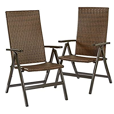 Greendale Home Fashions Hand Woven PE Wicker Outdoor Reclining Chairs - Made with hand woven PE wicker rattan, aluminum frame Chairs recline to seven different positions Folds down and easy to stack - patio-furniture, patio-chairs, patio - 51WEPdDUFjL. SS400  -