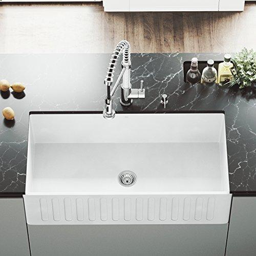 VIGO 36 inch Farmhouse Apron Single Bowl Matte Stone Kitchen Sink