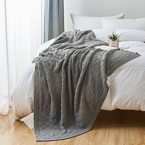 Cotton Cable Gray Knit Throw Blanket for Couch Chairs Bed Beach , Home Decorative Grey Blanket , 50 x 60 Inch Gift a Washing Bag