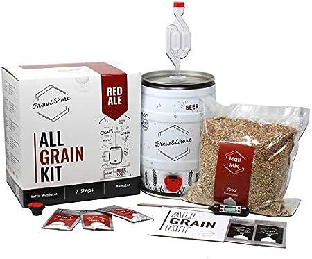 BNKR BEER | Brew&Share | Kit para Hacer Cerveza Red Ale | Tu Cerveza en 2 semanas. Elaboración con maltas. Fermentación en Barril. Materiales Reutilizables.